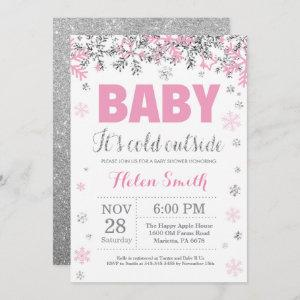 Baby its Cold Outside Pink Silver Girl Baby Shower