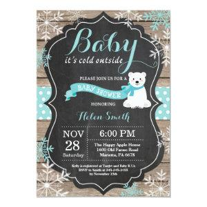 Baby its Cold Outside Polar Bear Aqua Baby Shower Invitation