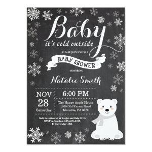 Baby Its Cold Outside Polar Bear Baby Shower Invitation