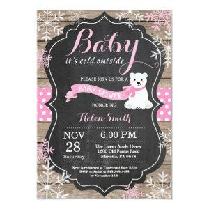 Baby its Cold Outside Polar Bear Girl Baby Shower Invitation