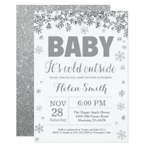 Baby its Cold Outside Silver and Gray Baby Shower Invitation