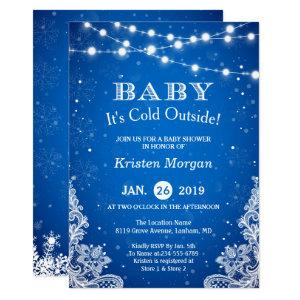 Baby Its Cold Outside Snow Blue Winter Baby Shower Invitation