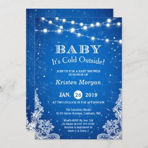 Baby Its Cold Outside Snow Blue Winter Baby Shower