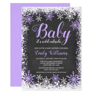 Baby Its Cold Outside Snow Purple Girl Baby Shower Invitation