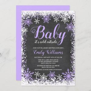 Baby Its Cold Outside Snow Purple Girl Baby Shower