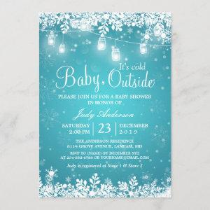 Baby Its Cold Outside Turquoise Winter Baby Shower Invitation