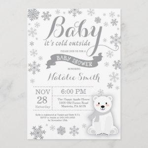 Baby Its Cold Outside Winter Baby Shower Gray Invitation