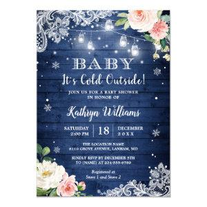 Baby It's Cold Outside Winter Blue Blush Floral Invitation