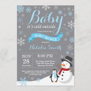 Baby Its Cold Outside Winter Boy Baby Shower Blue