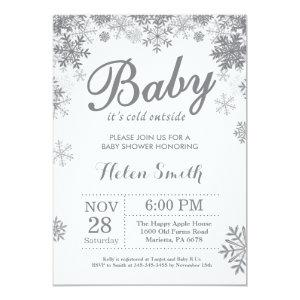 Baby its Cold Outside Winter Gray Baby Shower Invitation