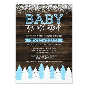 Baby It's Cold Outside Winter Snow Boy Baby Shower Invitation