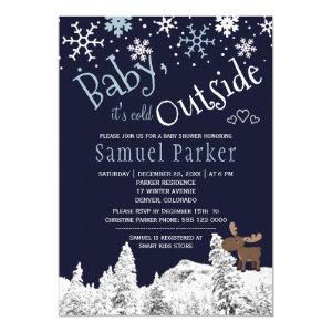 Baby its cold outside wonderland winter boy shower invitation