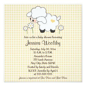 Baby Lamb Baby Shower Invitations Gender Neutral