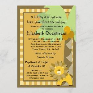 Baby Lion Jungle King Shower Zoo Safari Custom Invitation