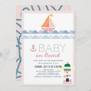 Baby on Board Nautical Pink Girl Baby Shower Invitation
