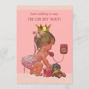 Baby Princess on Phone Baby Shower Chevrons Invitation