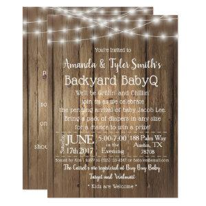 Baby-Q BBQ Wood Rustic Gender Neutral Baby Shower Invitation