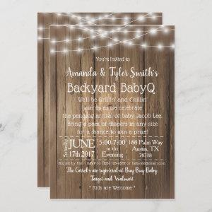 Baby-Q BBQ Wood Rustic Gender Neutral Baby Shower