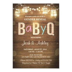 Baby Q gender reveal BBQ Baby Shower Rustic Wood Invitation