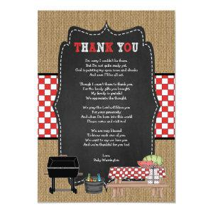 Baby Q thank you notes with poem / BBQ baby shower Invitation