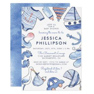 Baby Sailor | Blue Nautical Watercolor Baby Shower Invitation