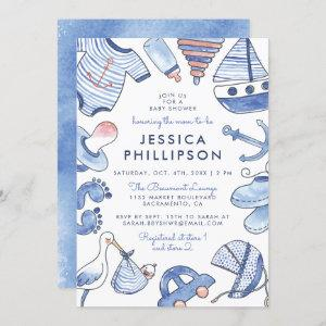Baby Sailor | Blue Nautical Watercolor Baby Shower