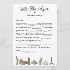 Baby Shower Advice Card- Travel Themed Invitation