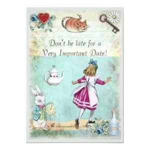 Baby Shower Alice in Wonderland Don't Be Late Invitation