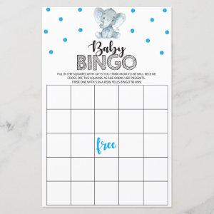Baby Shower Bingo Game | Elephant Boy, Blue, Dots