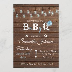 Baby Shower Blue Boy Party BBQ Rustic Wood Invitation
