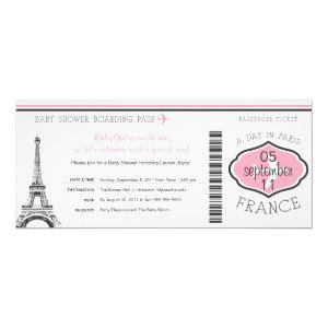 Baby Shower Boarding Pass to Paris Invitation