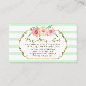 Baby Shower Book Request Card Pink Floral Mint