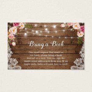 Baby Shower Book Request Rustic Pink Floral Lace