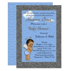 Baby Shower Boy, Baby Angel,Blue, glitter, silver Invitation