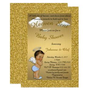 Baby Shower Boy, Baby Angel, glitter, Gold, braket Invitation