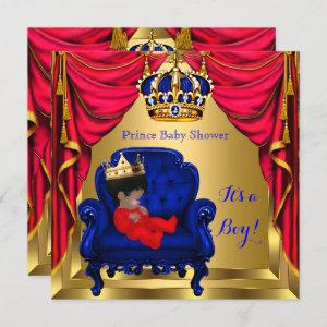 Baby Shower Boy Little Prince Blue Red Gold Ethnic Invitation