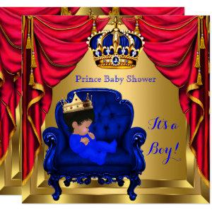 Baby Shower Boy Little Prince Royal Blue Red Gold Invitation