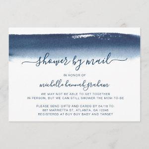 Baby Shower by Mail Baby Boy Navy Blue Watercolor Invitation