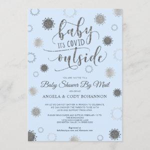 Baby Shower by Mail BABY ITS COVID OUTSIDE Blue Invitation