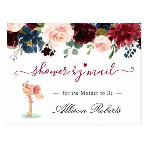 Baby Shower By Mail Burgundy Blush Navy Floral Postcard