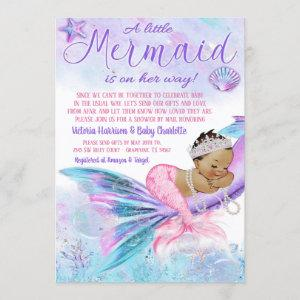 Baby Shower By Mail Ethnic Mermaid Baby Shower Invitation
