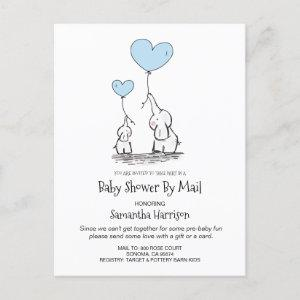 Baby Shower By Mail Mom And Baby Elephant Boy Blue Invitation Postcard