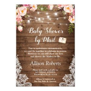 Baby Shower By Mail Rustic String Lights Floral Invitation