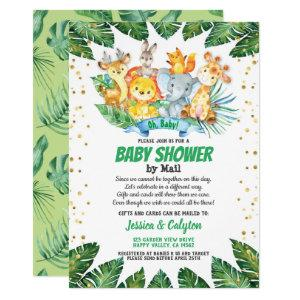 Baby shower by mail Safari jungle animals Invitation