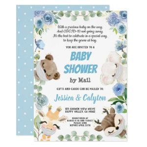 Baby Shower By Mail Woodland Animal Blue Rose Invitation