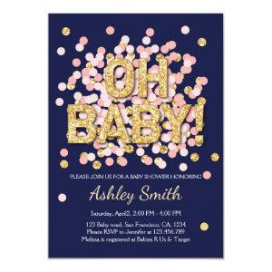 Baby Shower Confetti Pink Gold Navy Invitation