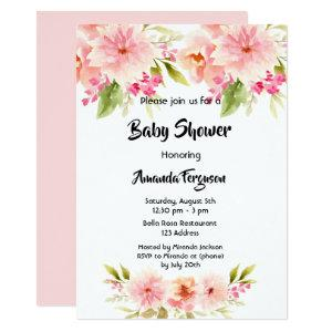 Baby Shower coral peach dahlia flowers white girl Invitation