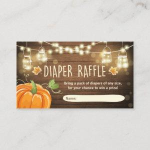 Baby Shower Diaper Raffle Card Rustic Pumpkin
