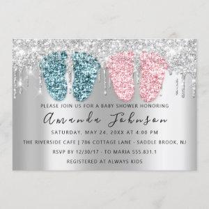Baby Shower Drips Silver Gray Feet Twins Boy Girl Invitation