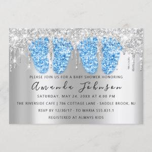 Baby Shower Drips Silver Gray Feet Twins Boys Invitation